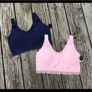 New ABS Pink Navy Stretchy Tank Lace Bra Set XL
